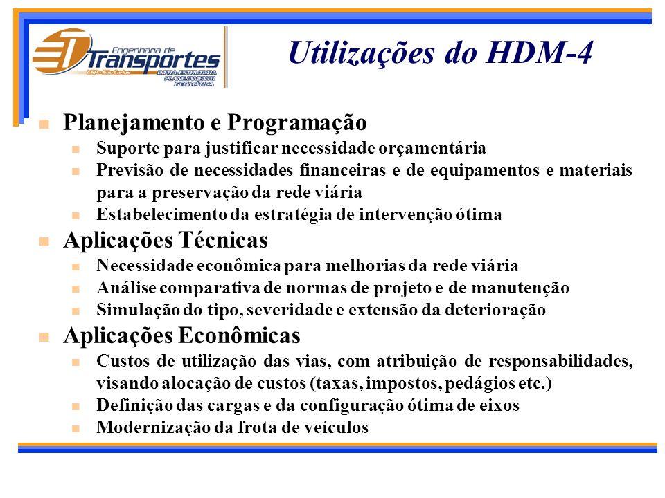 Principais Características do HDM-4 Simula a deterioração e as estratégias de manutenção definidas pelos usuários, para vias pavimentadas e não pavime
