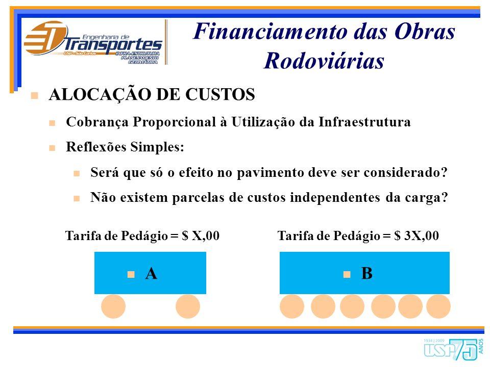 Financiamento das Obras Rodoviárias ALOCAÇÃO DE CUSTOS Cobrança Proporcional à Utilização da Infraestrutura Reflexões Simples: Qual deteriora mais o p