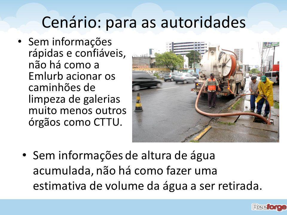 Cenário: para as autoridades Sem informações rápidas e confiáveis, não há como a Emlurb acionar os caminhões de limpeza de galerias muito menos outros