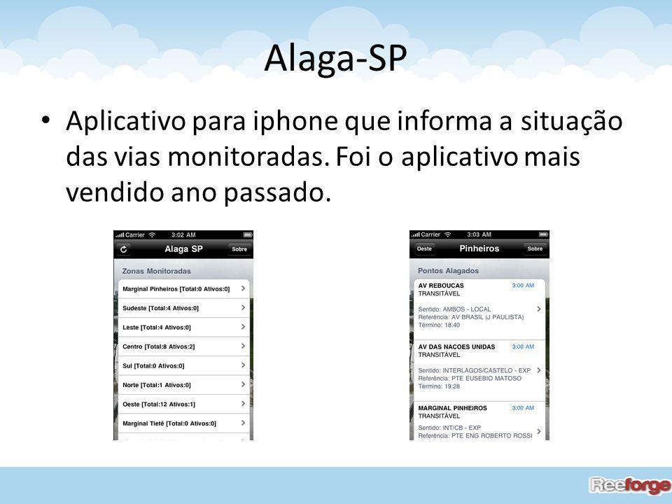 Alaga-SP Aplicativo para iphone que informa a situação das vias monitoradas. Foi o aplicativo mais vendido ano passado.