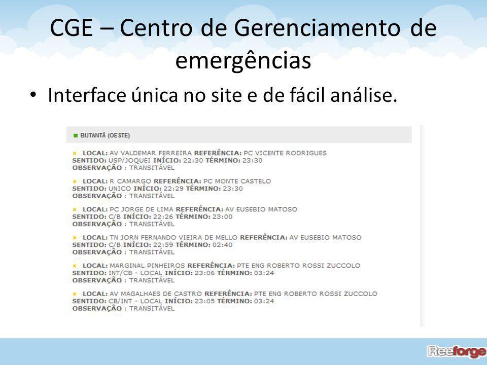 CGE – Centro de Gerenciamento de emergências Interface única no site e de fácil análise.