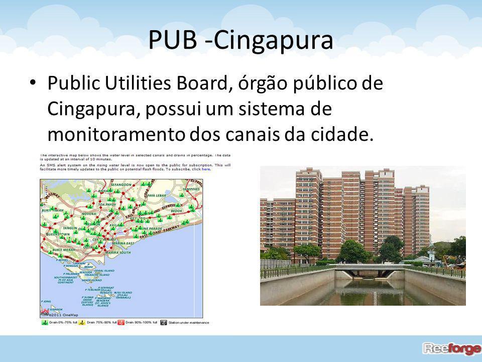 PUB -Cingapura Public Utilities Board, órgão público de Cingapura, possui um sistema de monitoramento dos canais da cidade.