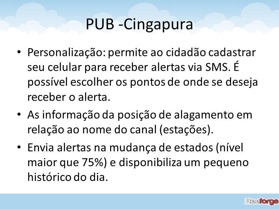 PUB -Cingapura Personalização: permite ao cidadão cadastrar seu celular para receber alertas via SMS. É possível escolher os pontos de onde se deseja