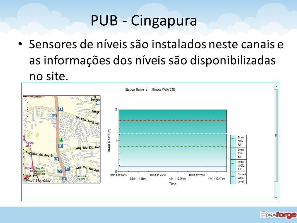 Sensores de níveis são instalados neste canais e as informações dos níveis são disponibilizadas no site. PUB - Cingapura