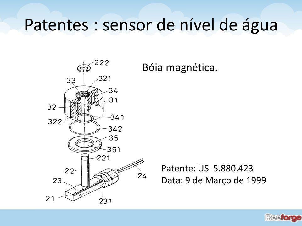 Patentes : sensor de nível de água Patente: US 5.880.423 Data: 9 de Março de 1999 Bóia magnética.