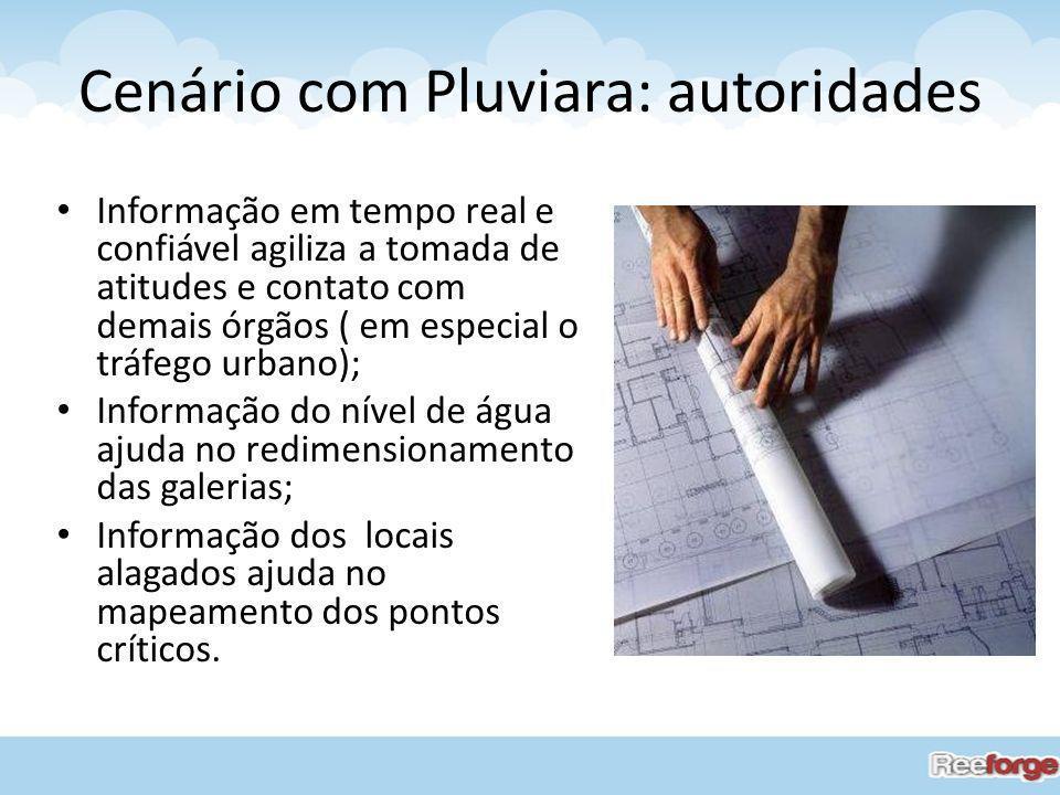 Cenário com Pluviara: autoridades Informação em tempo real e confiável agiliza a tomada de atitudes e contato com demais órgãos ( em especial o tráfeg