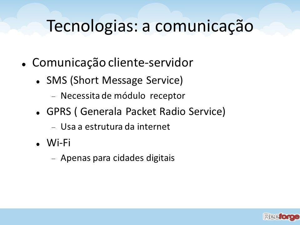 Tecnologias: a comunicação Comunicação cliente-servidor SMS (Short Message Service) Necessita de módulo receptor GPRS ( Generala Packet Radio Service)
