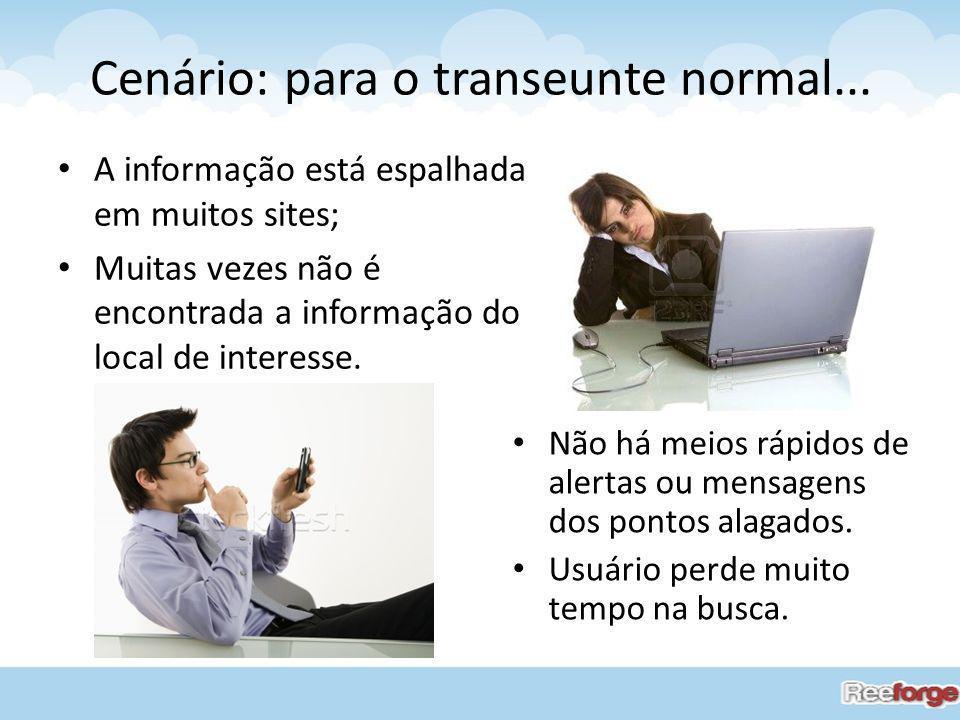 Cenário: para o transeunte normal... A informação está espalhada em muitos sites; Muitas vezes não é encontrada a informação do local de interesse. Nã
