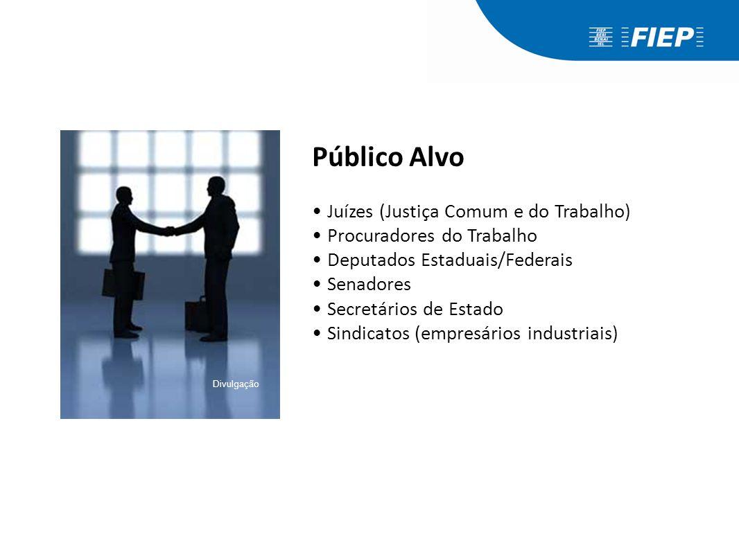 Público Alvo Juízes (Justiça Comum e do Trabalho) Procuradores do Trabalho Deputados Estaduais/Federais Senadores Secretários de Estado Sindicatos (em