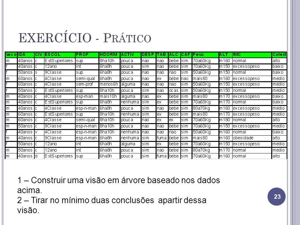EXERCÍCIO - P RÁTICO 23 1 – Construir uma visão em árvore baseado nos dados acima.