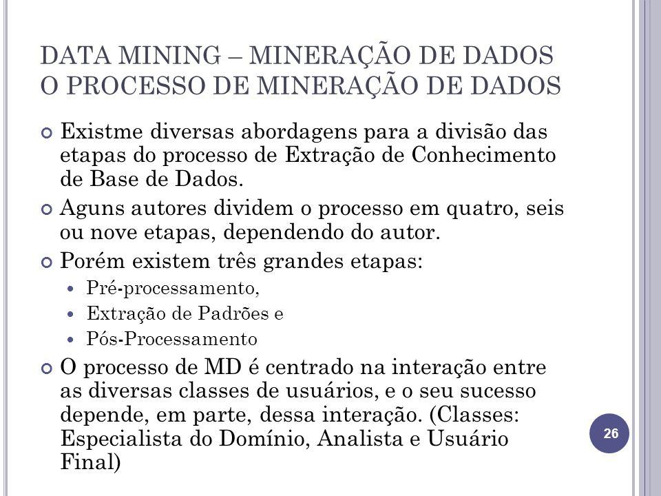 DATA MINING – MINERAÇÃO DE DADOS O PROCESSO DE MINERAÇÃO DE DADOS Existme diversas abordagens para a divisão das etapas do processo de Extração de Conhecimento de Base de Dados.