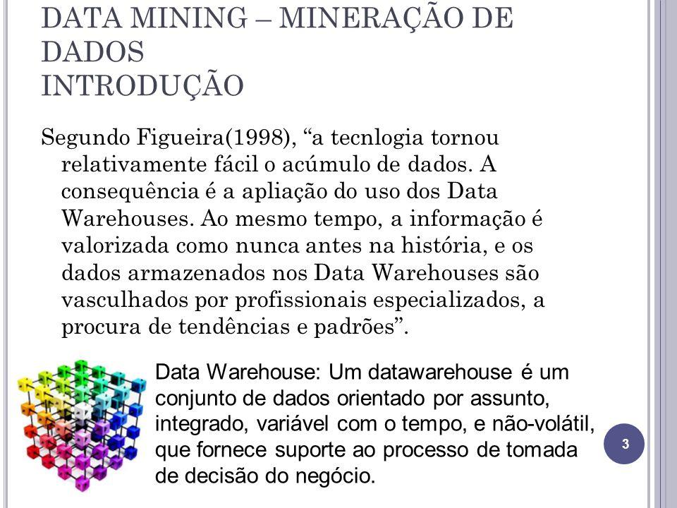 DATA MINING – MINERAÇÃO DE DADOS INTRODUÇÃO Segundo Figueira(1998), a tecnlogia tornou relativamente fácil o acúmulo de dados.