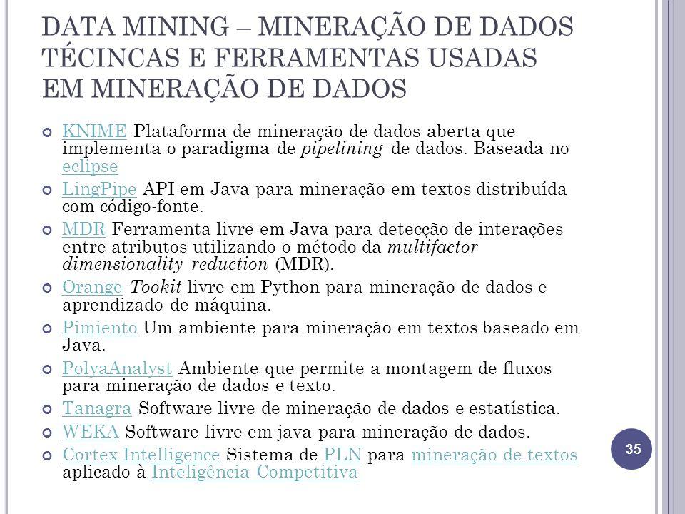 DATA MINING – MINERAÇÃO DE DADOS TÉCINCAS E FERRAMENTAS USADAS EM MINERAÇÃO DE DADOS KNIME Plataforma de mineração de dados aberta que implementa o paradigma de pipelining de dados.