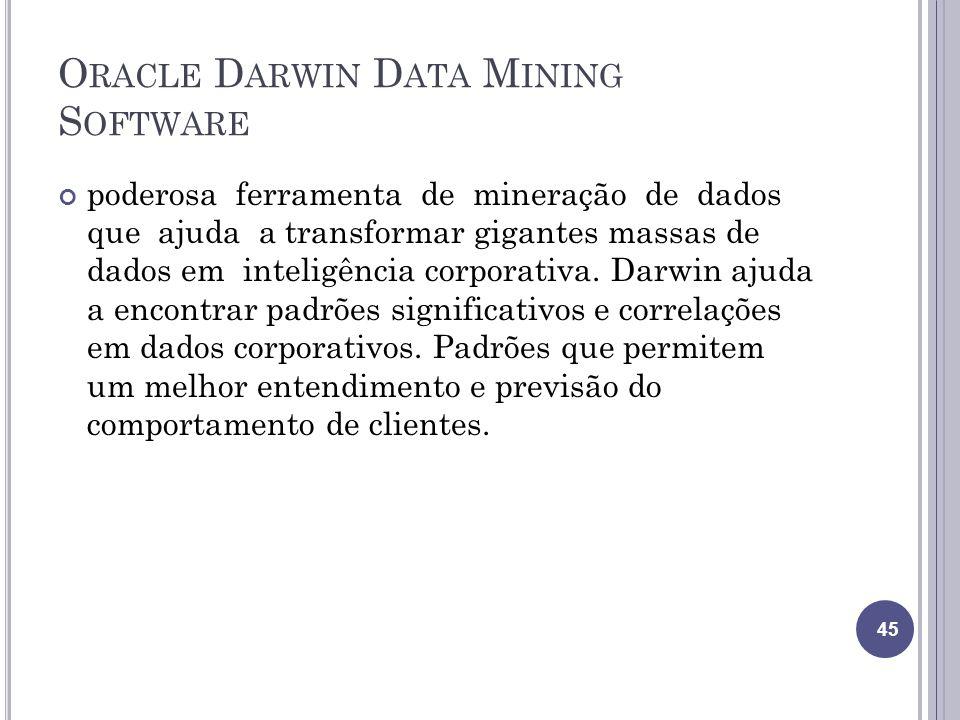 O RACLE D ARWIN D ATA M INING S OFTWARE poderosa ferramenta de mineração de dados que ajuda a transformar gigantes massas de dados em inteligência corporativa.