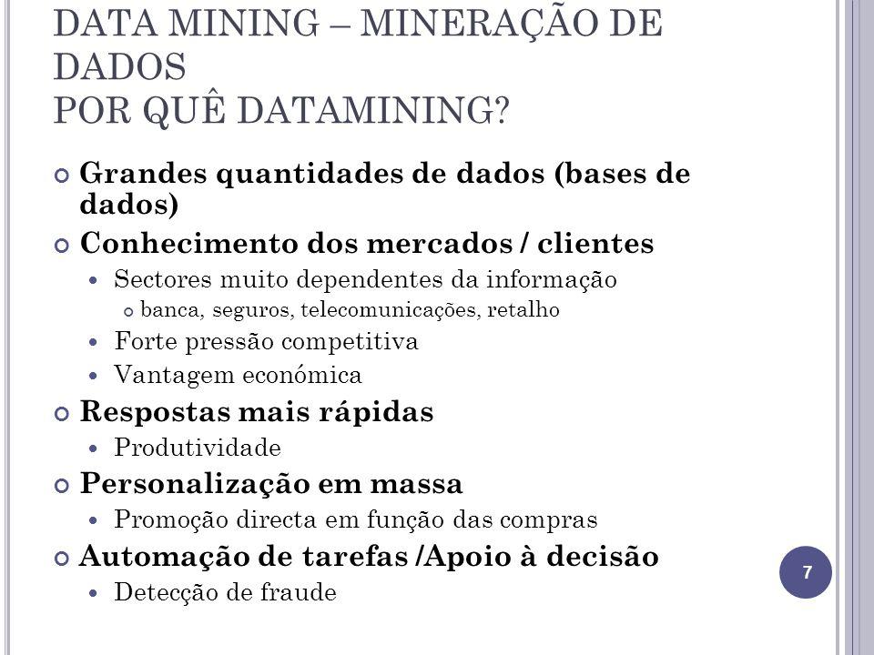 DATA MINING – MINERAÇÃO DE DADOS POR QUÊ DATAMINING.