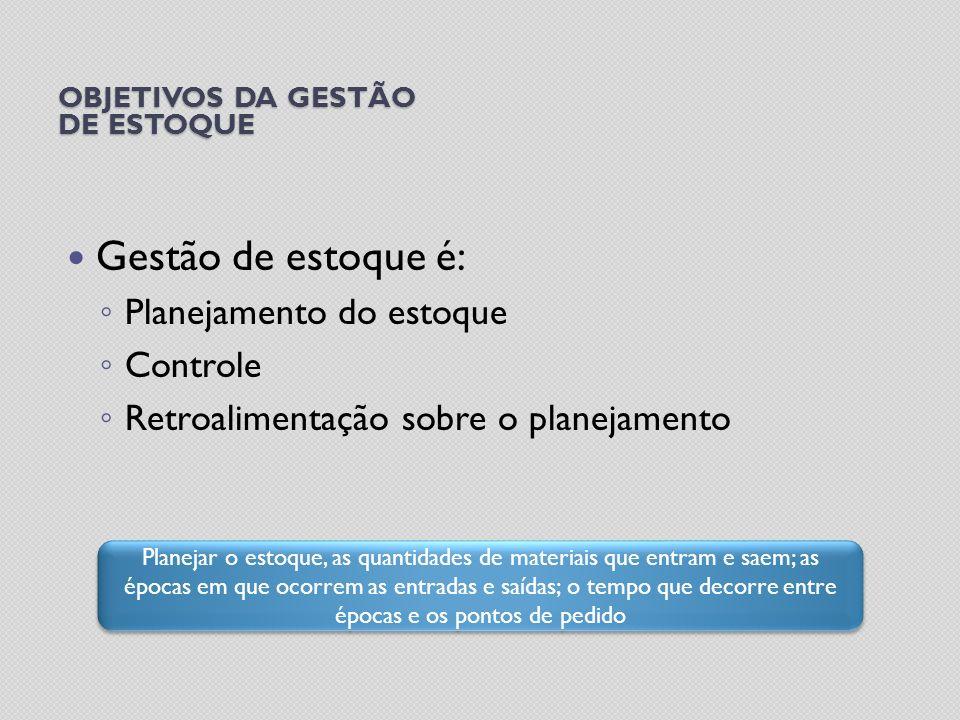 OBJETIVOS DA GESTÃO DE ESTOQUE Gestão de estoque é: Planejamento do estoque Controle Retroalimentação sobre o planejamento Planejar o estoque, as quan