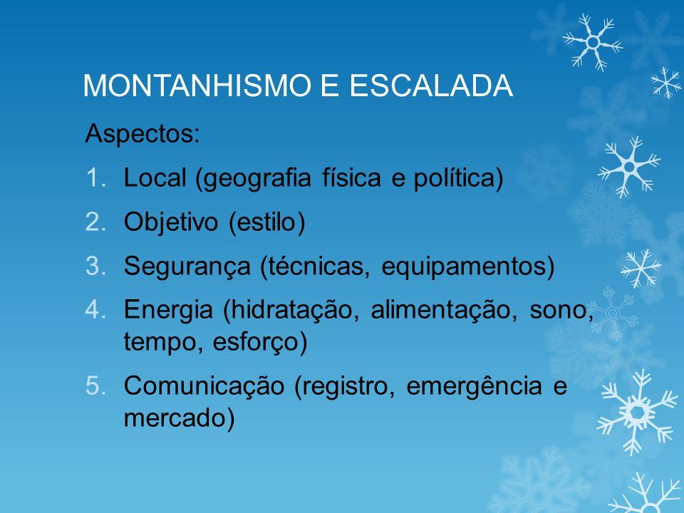 MONTANHISMO E ESCALADA Aspectos: 1.Local (geografia física e política) 2.Objetivo (estilo) 3.Segurança (técnicas, equipamentos) 4.Energia (hidratação,