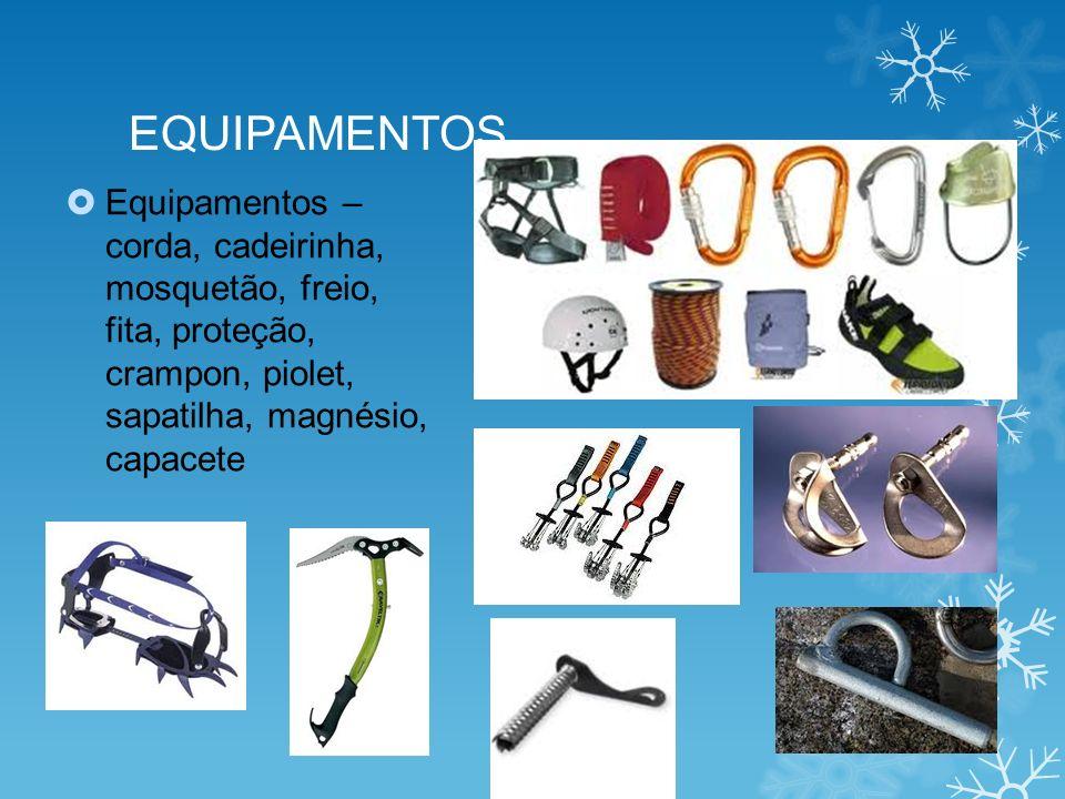 EQUIPAMENTOS Equipamentos – corda, cadeirinha, mosquetão, freio, fita, proteção, crampon, piolet, sapatilha, magnésio, capacete