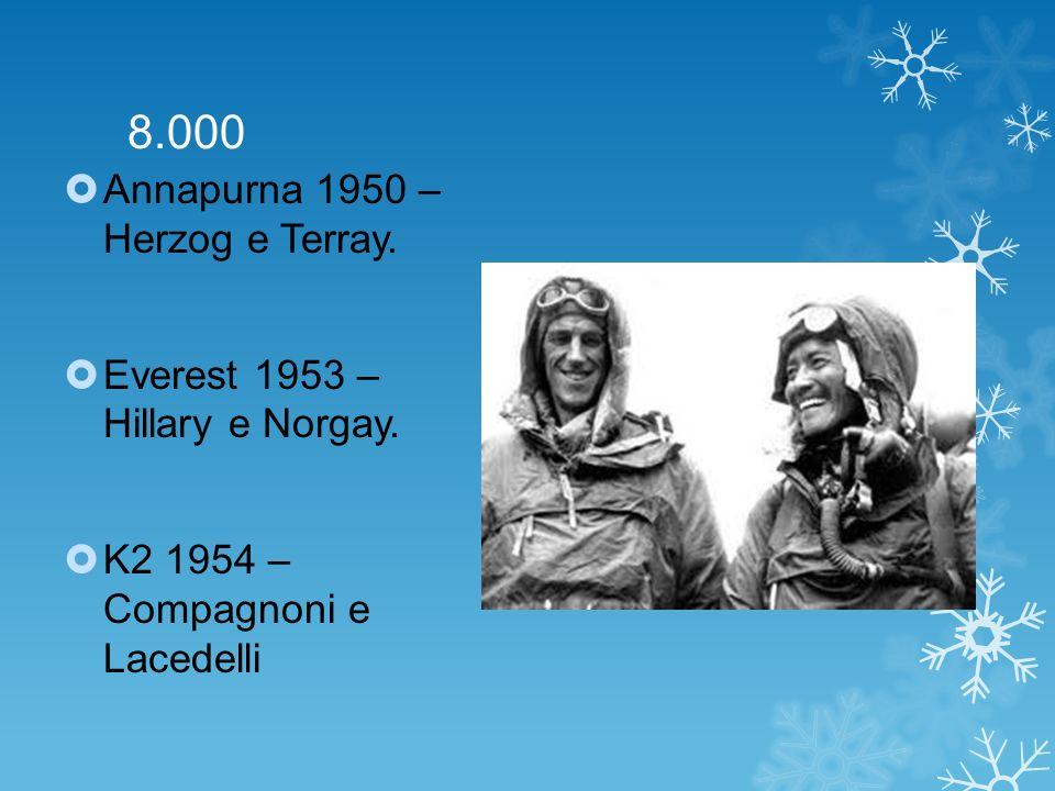 8.000 Annapurna 1950 – Herzog e Terray. Everest 1953 – Hillary e Norgay. K2 1954 – Compagnoni e Lacedelli