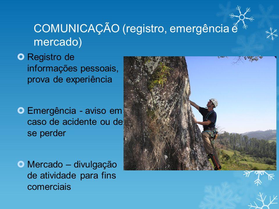 COMUNICAÇÃO (registro, emergência e mercado) Registro de informações pessoais, prova de experiência Emergência - aviso em caso de acidente ou de se pe