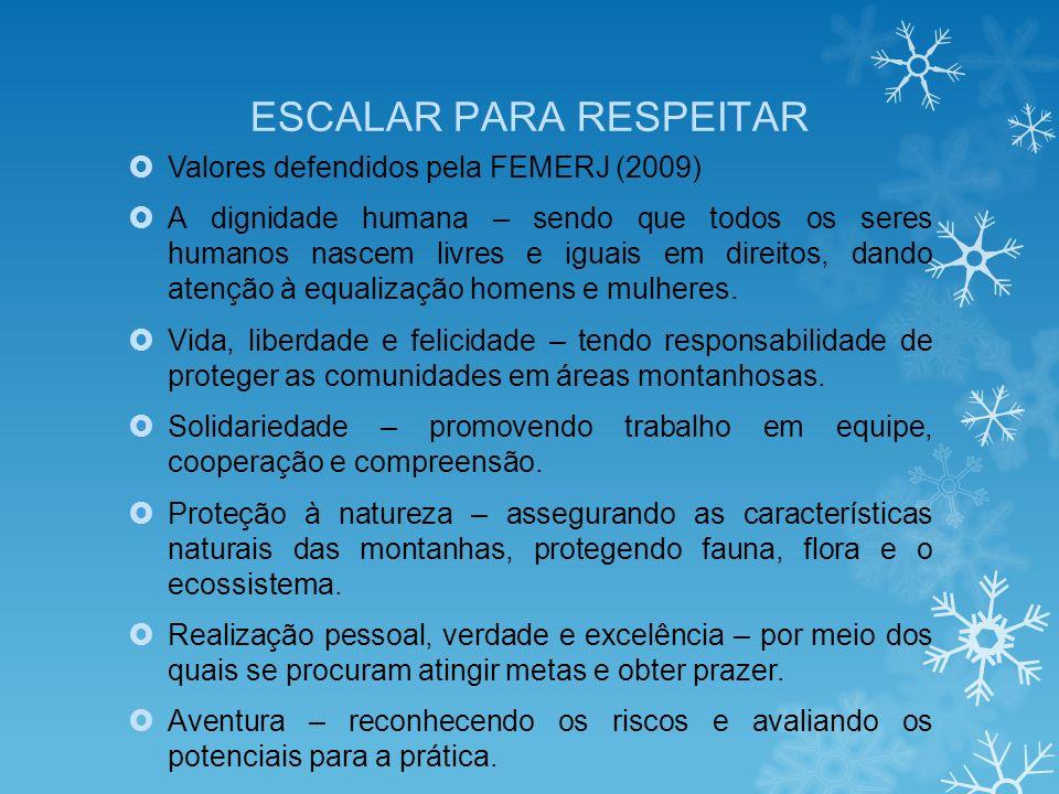 ESCALAR PARA RESPEITAR Valores defendidos pela FEMERJ (2009) A dignidade humana – sendo que todos os seres humanos nascem livres e iguais em direitos, dando atenção à equalização homens e mulheres.