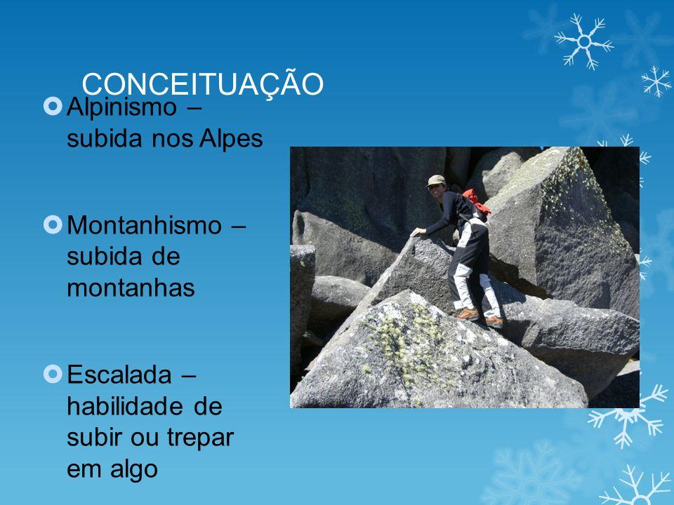 CONCEITUAÇÃO Alpinismo – subida nos Alpes Montanhismo – subida de montanhas Escalada – habilidade de subir ou trepar em algo