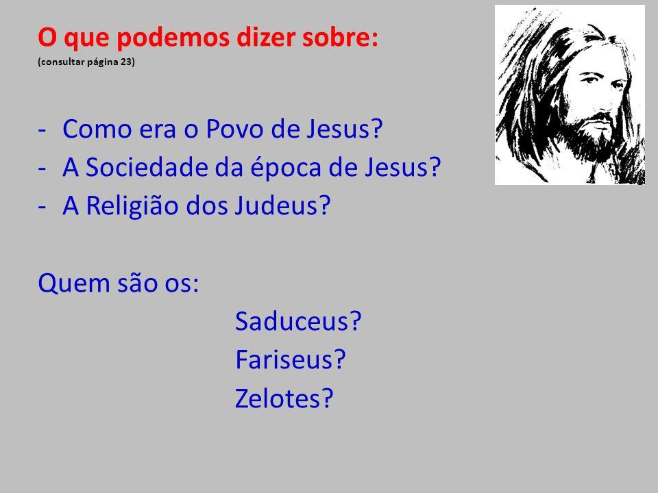 O que podemos dizer sobre: (consultar página 23) -Como era o Povo de Jesus? -A Sociedade da época de Jesus? -A Religião dos Judeus? Quem são os: Saduc