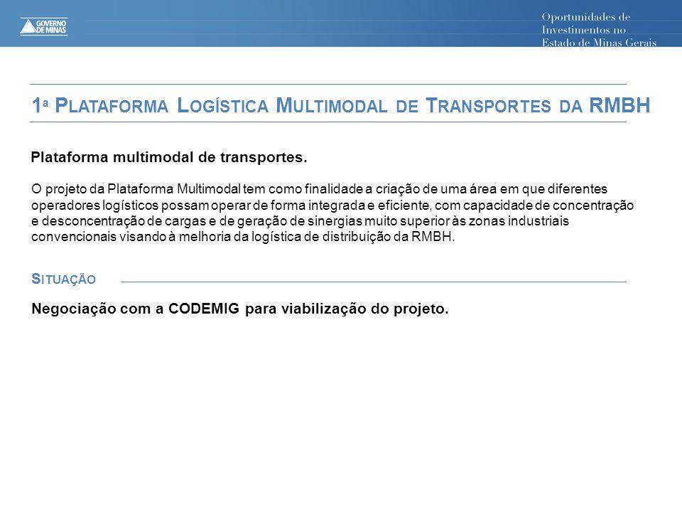 Plataforma multimodal de transportes. S ITUAÇÃO 1 ª P LATAFORMA L OGÍSTICA M ULTIMODAL DE T RANSPORTES DA RMBH O projeto da Plataforma Multimodal tem