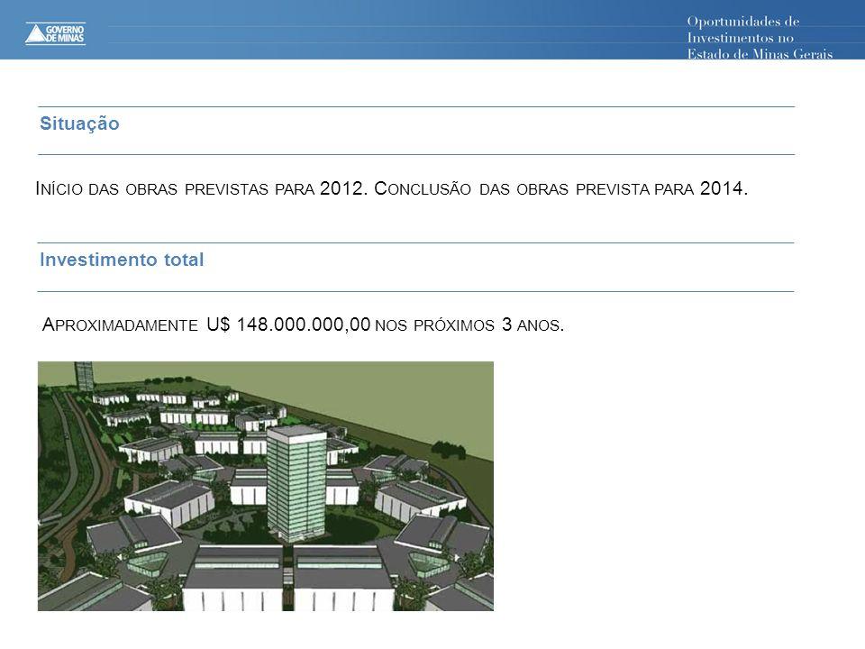 Situação I NÍCIO DAS OBRAS PREVISTAS PARA 2012. C ONCLUSÃO DAS OBRAS PREVISTA PARA 2014. Investimento total A PROXIMADAMENTE U$ 148.000.000,00 NOS PRÓ