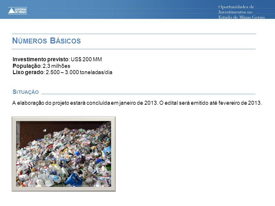 N ÚMEROS B ÁSICOS S ITUAÇÃO Investimento previsto: US$ 200 MM População: 2,3 milhões Lixo gerado: 2.500 – 3.000 toneladas/dia A elaboração do projeto estará concluída em janeiro de 2013.
