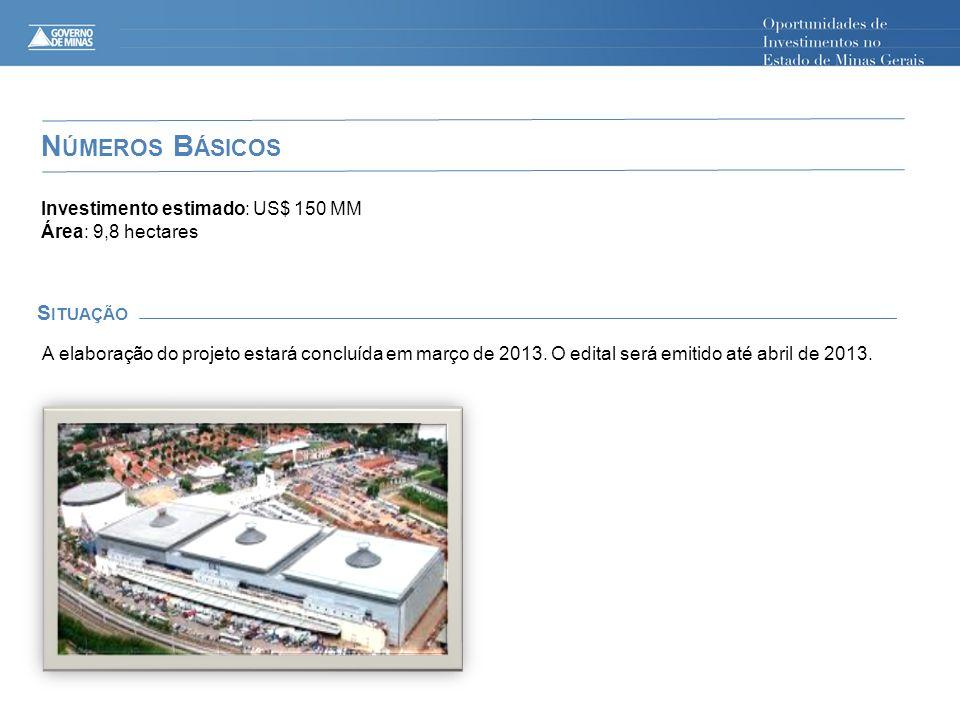 N ÚMEROS B ÁSICOS S ITUAÇÃO Investimento estimado: US$ 150 MM Área: 9,8 hectares A elaboração do projeto estará concluída em março de 2013. O edital s