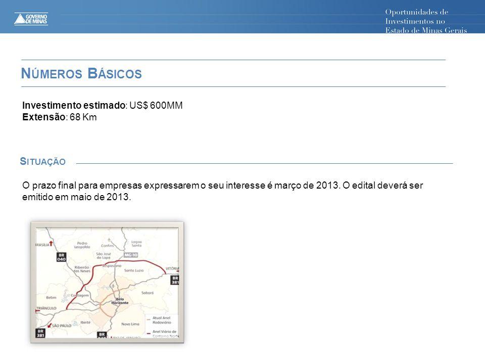 N ÚMEROS B ÁSICOS S ITUAÇÃO Investimento estimado: US$ 600MM Extensão: 68 Km O prazo final para empresas expressarem o seu interesse é março de 2013.