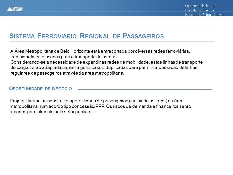 S ISTEMA F ERROVIÁRIO R EGIONAL DE P ASSAGEIROS A Área Metropolitana de Belo Horizonte está entrecortada por diversas redes ferroviárias, tradicionalmente usadas para o transporte de cargas.