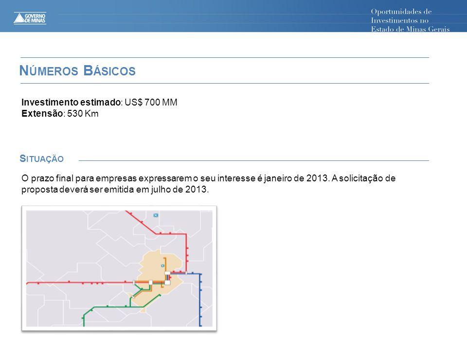 N ÚMEROS B ÁSICOS S ITUAÇÃO Investimento estimado: US$ 700 MM Extensão: 530 Km O prazo final para empresas expressarem o seu interesse é janeiro de 2013.
