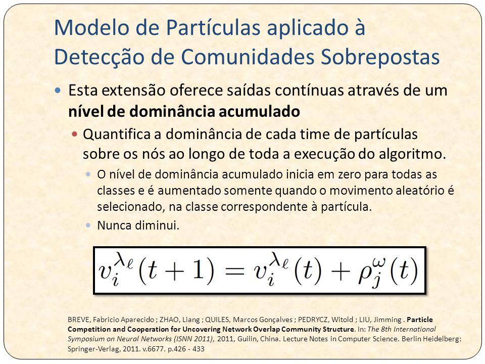 Modelo de Partículas aplicado à Detecção de Comunidades Sobrepostas Esta extensão oferece saídas contínuas através de um nível de dominância acumulado Quantifica a dominância de cada time de partículas sobre os nós ao longo de toda a execução do algoritmo.