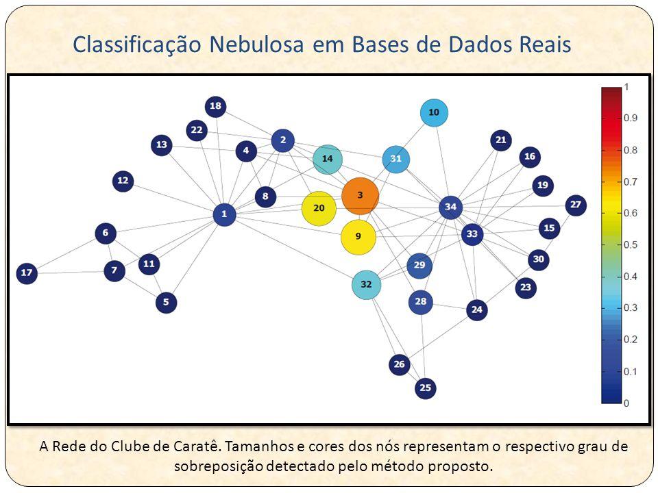 A Rede do Clube de Caratê. Tamanhos e cores dos nós representam o respectivo grau de sobreposição detectado pelo método proposto. Classificação Nebulo