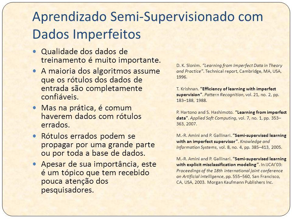 Aprendizado Semi-Supervisionado com Dados Imperfeitos Qualidade dos dados de treinamento é muito importante. A maioria dos algoritmos assume que os ró