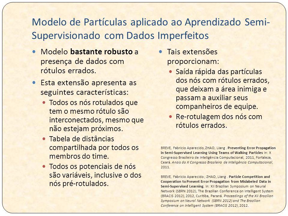 Modelo de Partículas aplicado ao Aprendizado Semi- Supervisionado com Dados Imperfeitos Modelo bastante robusto a presença de dados com rótulos errados.