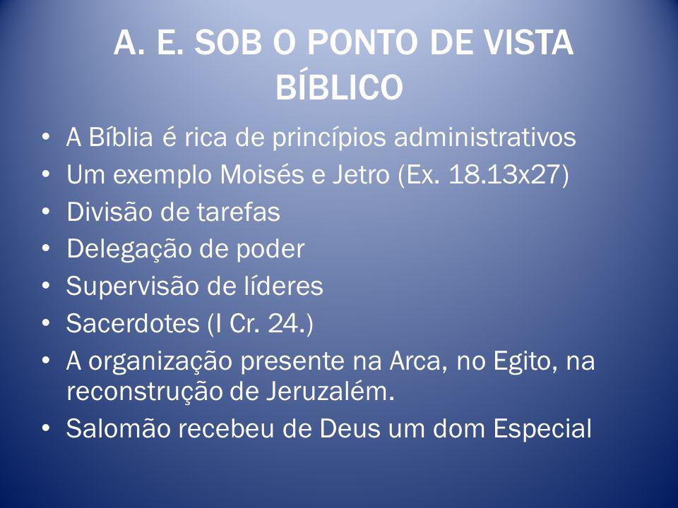 A. E. SOB O PONTO DE VISTA BÍBLICO A Bíblia é rica de princípios administrativos Um exemplo Moisés e Jetro (Ex. 18.13x27) Divisão de tarefas Delegação