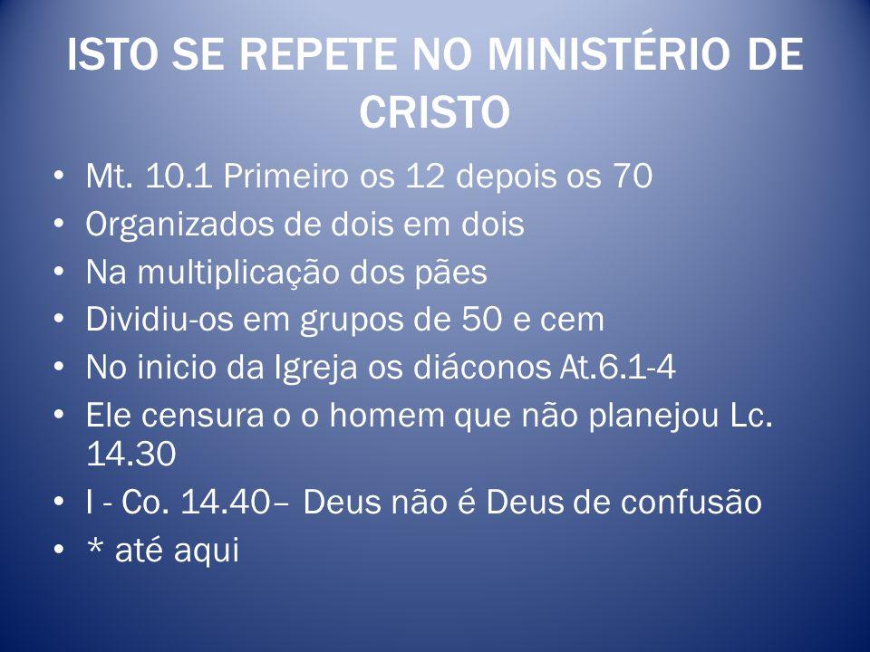 ISTO SE REPETE NO MINISTÉRIO DE CRISTO Mt. 10.1 Primeiro os 12 depois os 70 Organizados de dois em dois Na multiplicação dos pães Dividiu-os em grupos
