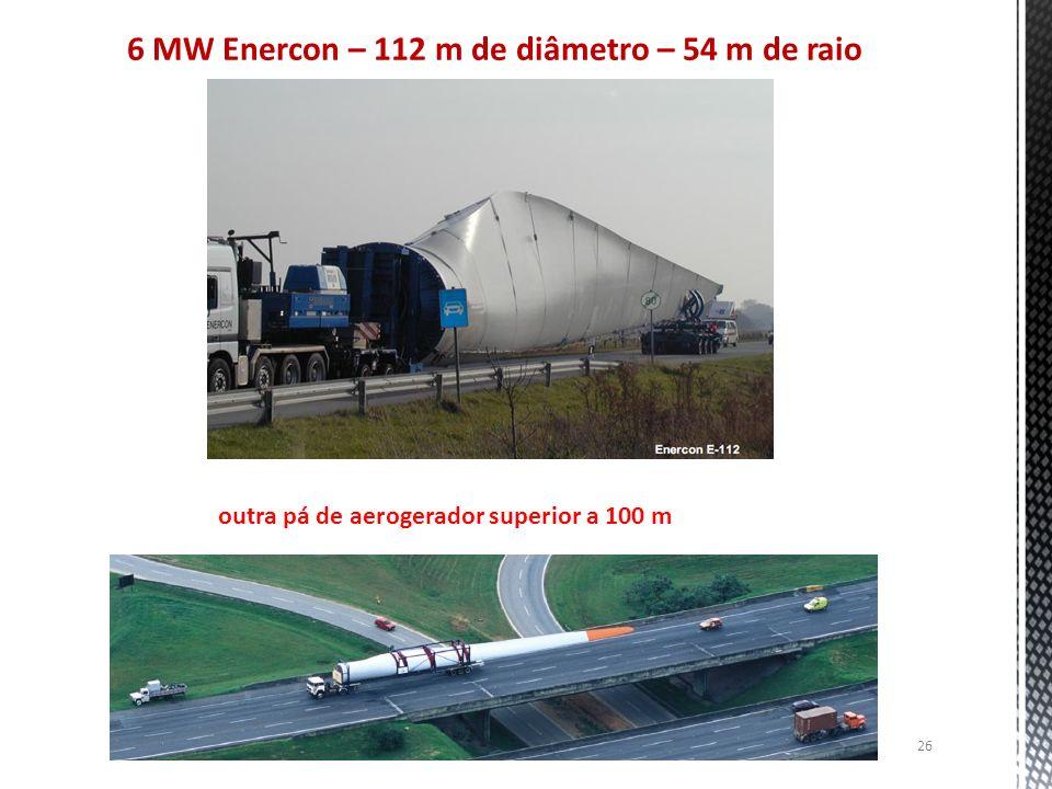 6 MW Enercon – 112 m de diâmetro – 54 m de raio 26 outra pá de aerogerador superior a 100 m