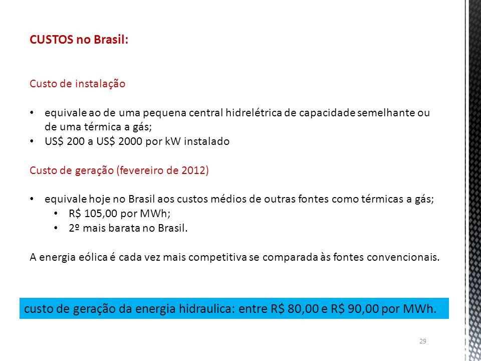 CUSTOS no Brasil: Custo de instalação equivale ao de uma pequena central hidrelétrica de capacidade semelhante ou de uma térmica a gás; US$ 200 a US$