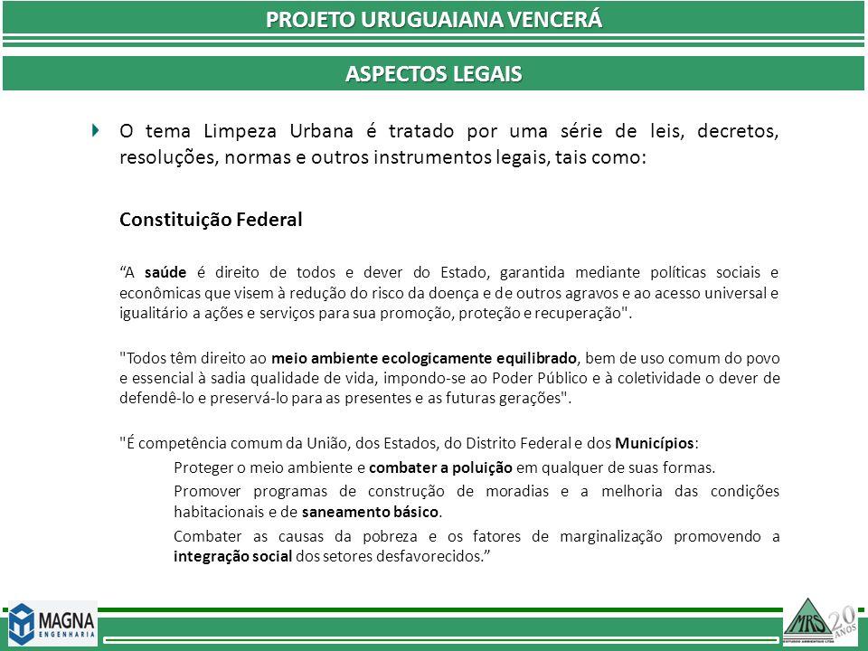 PROJETO URUGUAIANA VENCERÁ ASPECTOS LEGAIS O tema Limpeza Urbana é tratado por uma série de leis, decretos, resoluções, normas e outros instrumentos l