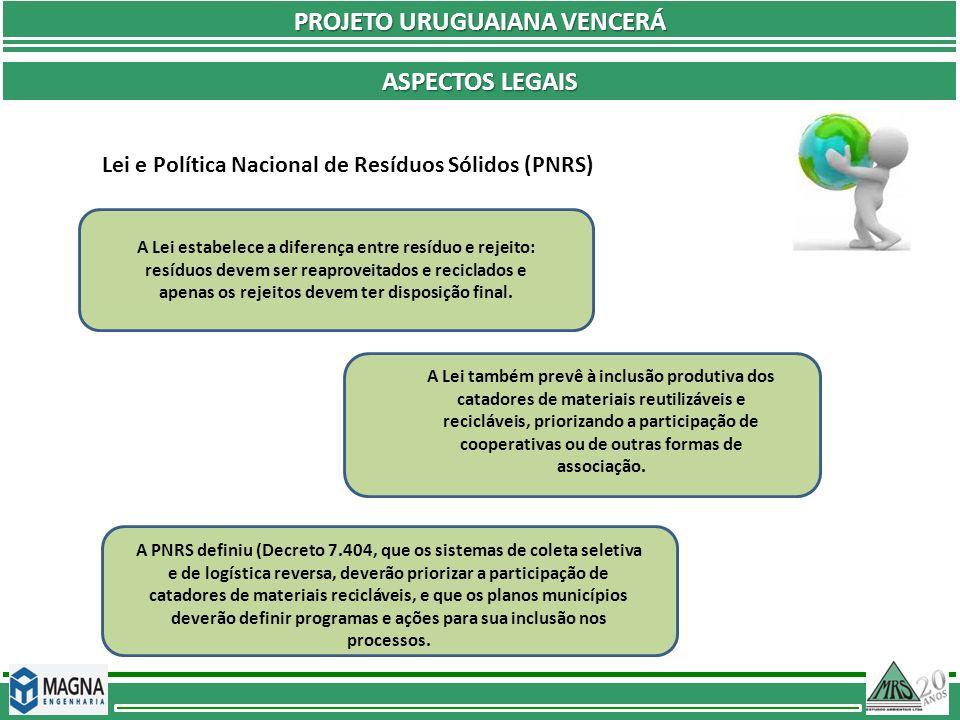 PROJETO URUGUAIANA VENCERÁ ASPECTOS LEGAIS Lei e Política Nacional de Resíduos Sólidos (PNRS) A Lei estabelece a diferença entre resíduo e rejeito: re