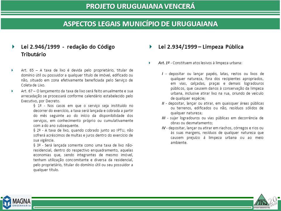 PROJETO URUGUAIANA VENCERÁ ASPECTOS LEGAIS MUNICÍPIO DE URUGUAIANA Lei 2.946/1999 - redação do Código Tributário Art. 65 – A taxa de lixo é devida pel