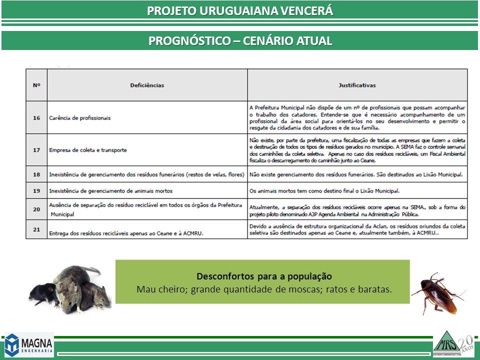 PROJETO URUGUAIANA VENCERÁ PROGNÓSTICO – CENÁRIO ATUAL Desconfortos para a população Mau cheiro; grande quantidade de moscas; ratos e baratas.