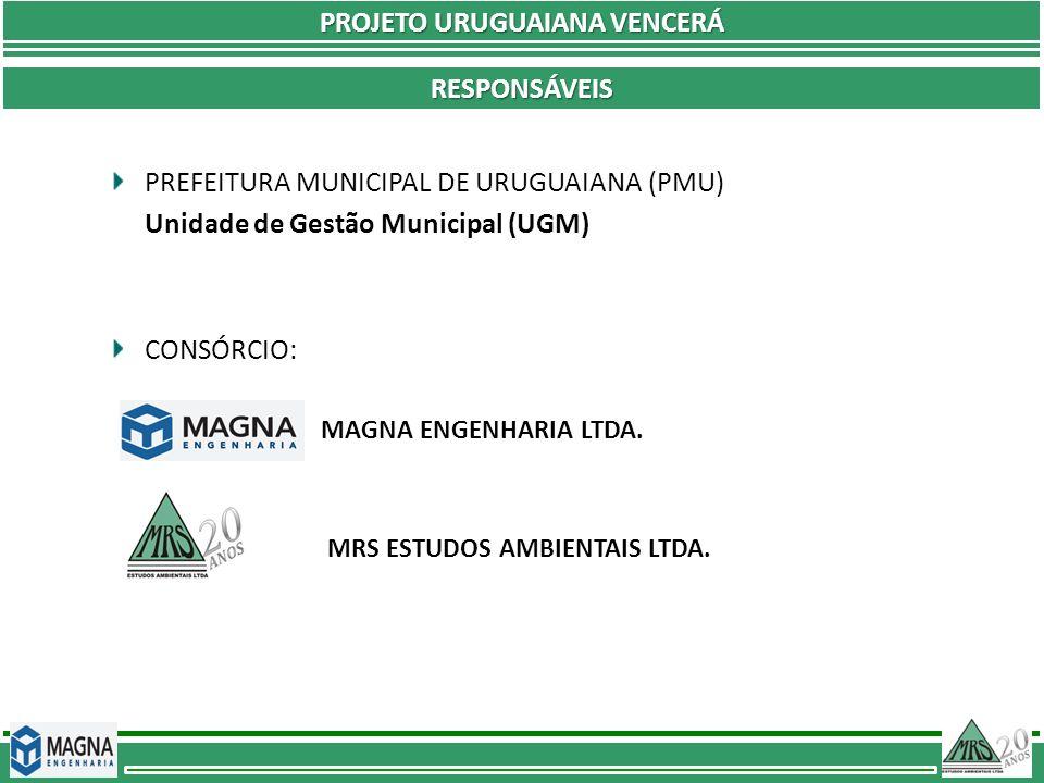 PREFEITURA MUNICIPAL DE URUGUAIANA (PMU) Unidade de Gestão Municipal (UGM) CONSÓRCIO: MAGNA ENGENHARIA LTDA. MRS ESTUDOS AMBIENTAIS LTDA. RESPONSÁVEIS