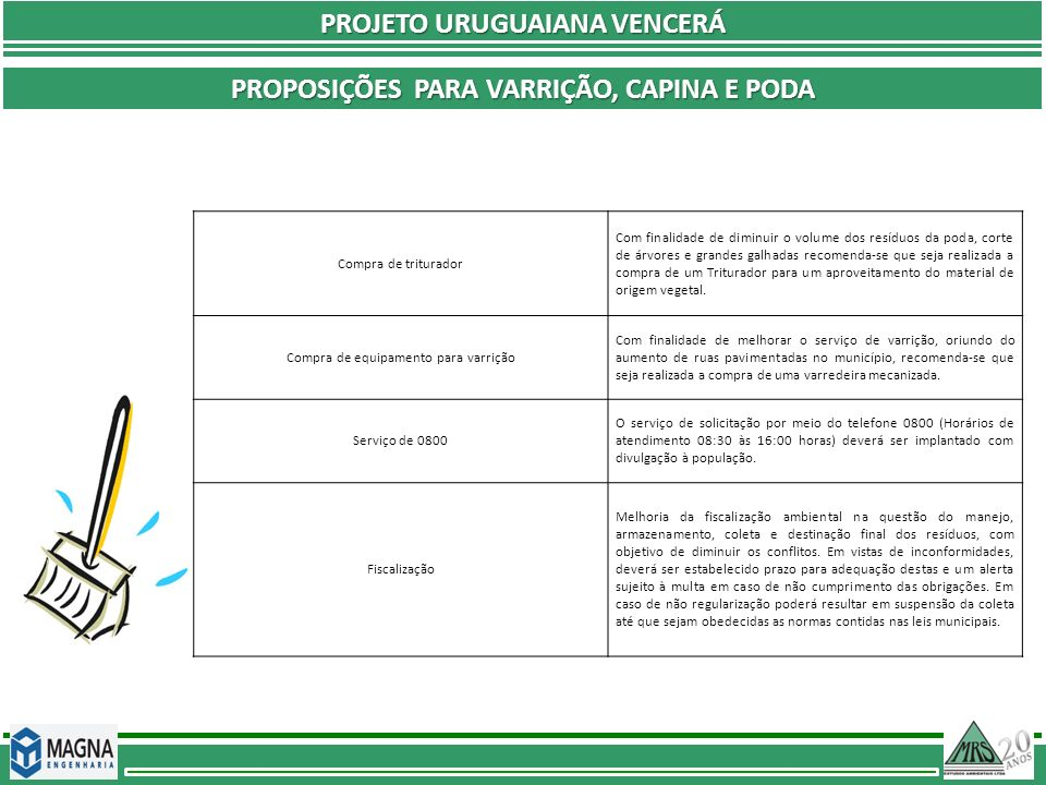 PROJETO URUGUAIANA VENCERÁ PROPOSIÇÕES PARA VARRIÇÃO, CAPINA E PODA Compra de triturador Com finalidade de diminuir o volume dos resíduos da poda, cor