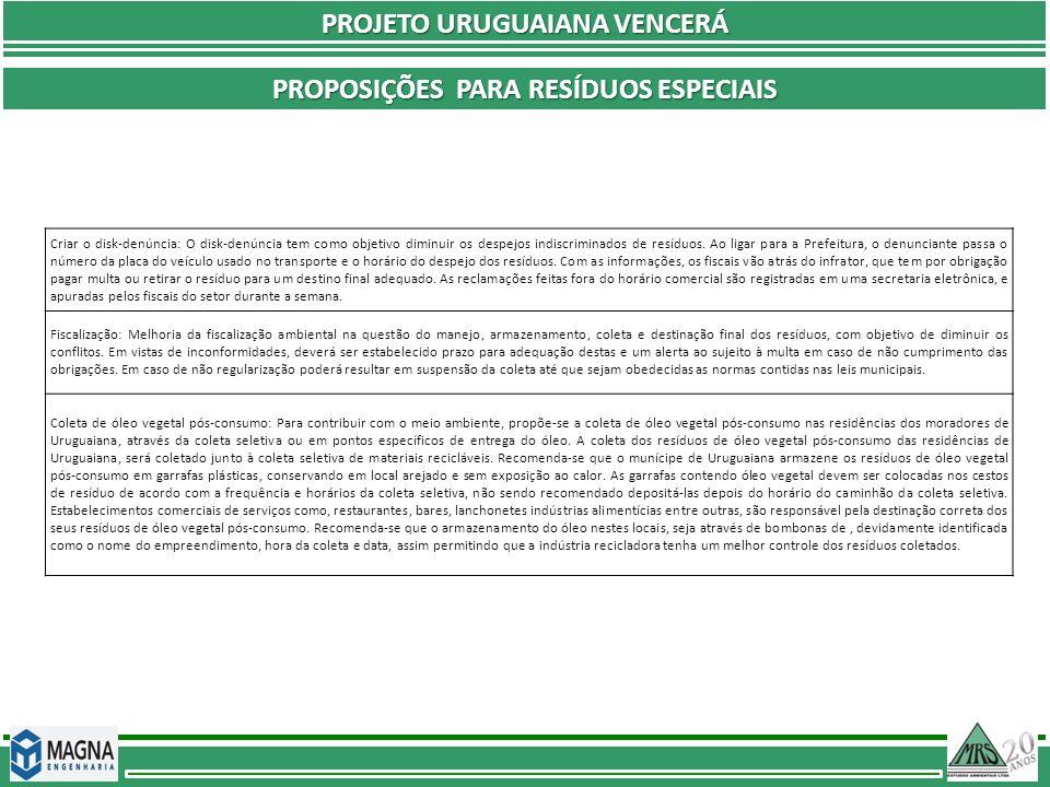 PROJETO URUGUAIANA VENCERÁ PROPOSIÇÕES PARA RESÍDUOS ESPECIAIS Criar o disk-denúncia: O disk-denúncia tem como objetivo diminuir os despejos indiscrim