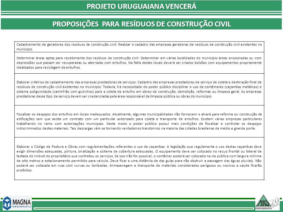PROJETO URUGUAIANA VENCERÁ PROPOSIÇÕES PARA RESÍDUOS DE CONSTRUÇÃO CIVIL Cadastramento de geradores dos resíduos de construção civil: Realizar o cadas